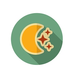 Moon and stars retro flat icon weather vector