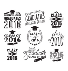 Graduation wishes overlays lettering labels vector