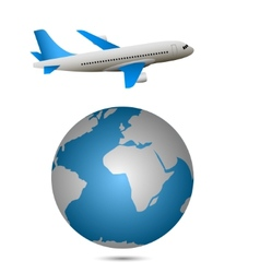 Airplane and globe vector image vector image
