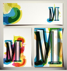 Artistic greeting card letter m vector