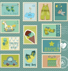 baby boy postage stamps vector image vector image