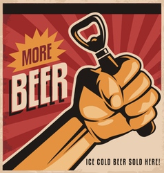 Beer retro poster design with revolution fist vector image vector image