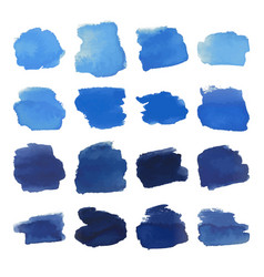 Blue blots watercolor set vector