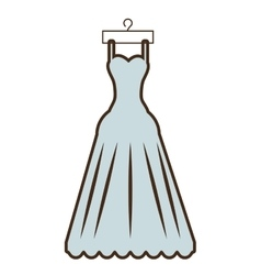 Cartoon beautiful dress bride hanging vector