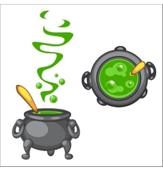 Cartoon cauldron with green boiling poison and vector image