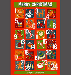cartoon christmas advent calendar with funny icons vector image