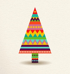 Christmas tree in colorful geometric art style vector