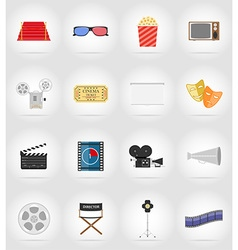 cinema flat icons 17 vector image vector image