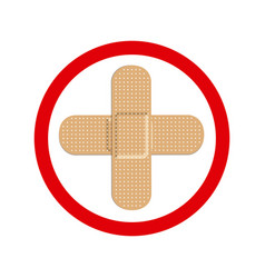 circular frame with band aid in cross form vector image vector image