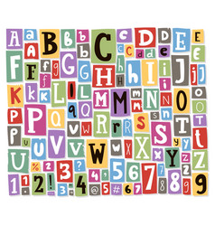 Colorful alphabet letters made of newspaper vector