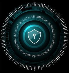 cyber security shield lock vector image vector image