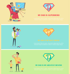 dads day banner set vector image vector image