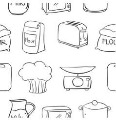 Doodle of kitchen equipment various vector