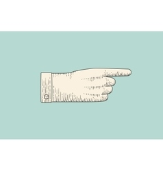 Drawing of hand sign with pointing finger in vector image