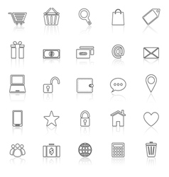 Ecommerce line icons with reflect on white vector image vector image