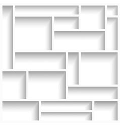 Empty white modern shelves vector