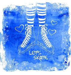 Female legs in skates on a watercolor background vector image