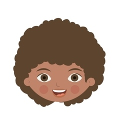Front face brunette girl with curly hair vector