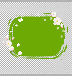 green stain with flowers vector image vector image