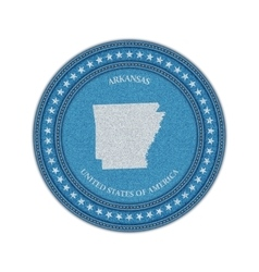 Label with map of arkansas denim style vector