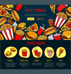 Landing page for fast food restaurant site vector