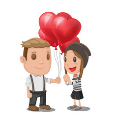 Man give heart balloon woman vector