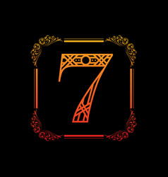 number 7 with ornament vector image