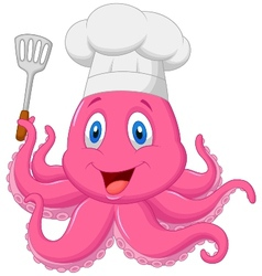Octopus chef cartoon holding spatula vector