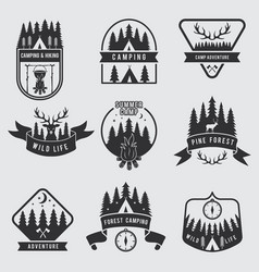 outdoor camping labels set explorer monochrome vector image
