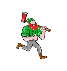 Paul bunyan lumberjack axe running cartoon vector