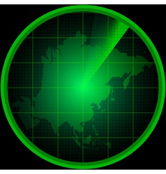 Radar screen with a silhouette of asia vector