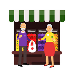 senior couple characters buying fresh fruits at vector image