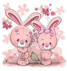 two rabbits vector image