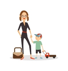 Woman child isolated cartoon people mother and vector