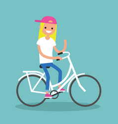 Young blond girl riding a bike and waving her vector