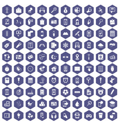 100 mobile app icons hexagon purple vector