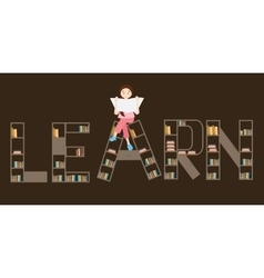 Learn book shelf girl reading on top vector