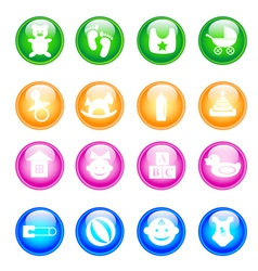 Baby colorful icon set vector
