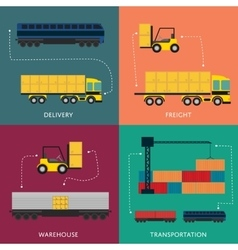 Warehouse and freight transportation banner set vector