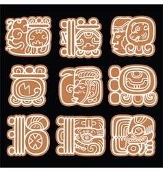 Mayan glyphs writing system and languge design vector