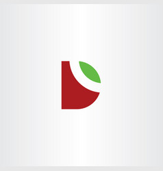 Letter d logo leaf green red symbol vector
