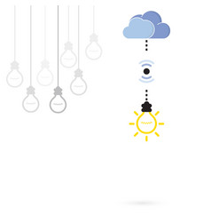 Creative light bulb symbol with cloud computing vector