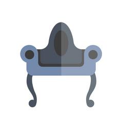 Elegant dark blue vintage armchair with black legs vector