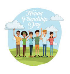 Colorful card of happy friendship day with group vector