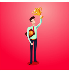 Successful businessman holding award winner cup vector