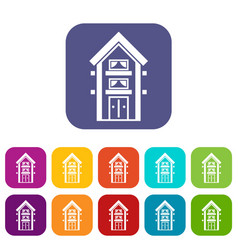 Two-storey house with balconies icons set vector