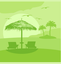 Summer background card with lounge and umbrella vector