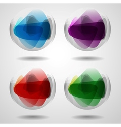 Set of translucent crystal ball vector