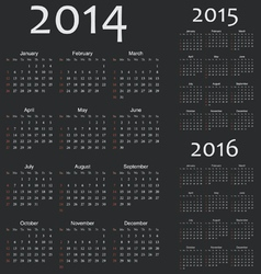 Simple european 2014 2015 2016 year calendars vector