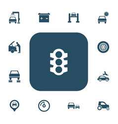 Set of 13 editable car icons includes symbols vector